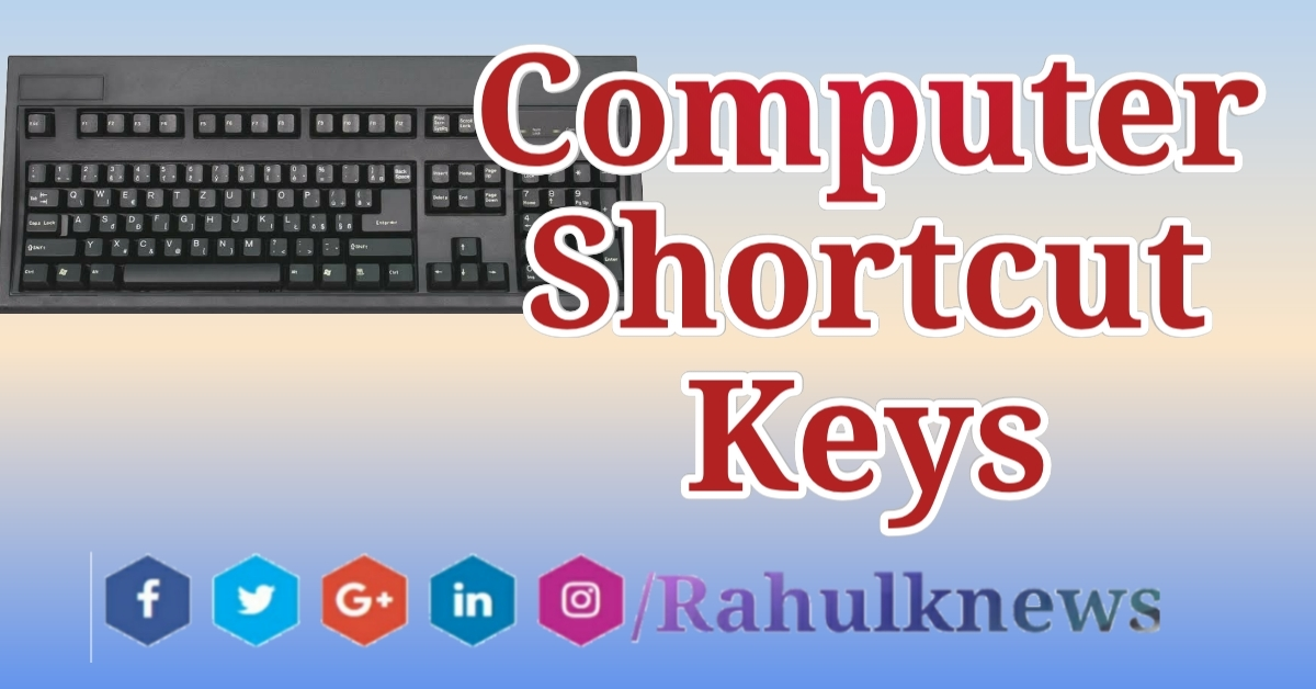 100 Shortcut Keys In Computer Word, Excel, A to Z